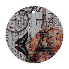 Vintage Clock Blue Butterfly Paris Eiffel Tower Fashion Round Ornament (Two Sides)
