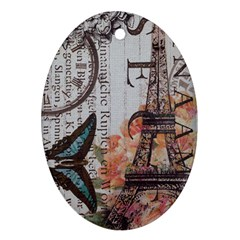 Vintage Clock Blue Butterfly Paris Eiffel Tower Fashion Oval Ornament (Two Sides)