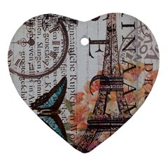 Vintage Clock Blue Butterfly Paris Eiffel Tower Fashion Heart Ornament (Two Sides)