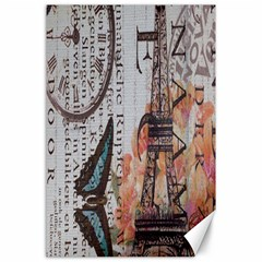 Vintage Clock Blue Butterfly Paris Eiffel Tower Fashion Canvas 24  x 36  (Unframed)