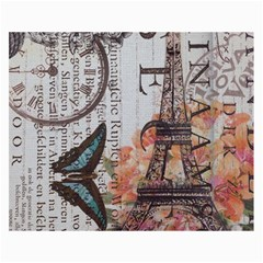 Vintage Clock Blue Butterfly Paris Eiffel Tower Fashion Canvas 36  x 48  (Unframed)