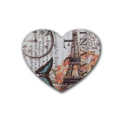 Vintage Clock Blue Butterfly Paris Eiffel Tower Fashion Drink Coasters 4 Pack (heart)