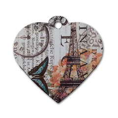 Vintage Clock Blue Butterfly Paris Eiffel Tower Fashion Dog Tag Heart (One Sided)