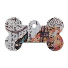 Vintage Clock Blue Butterfly Paris Eiffel Tower Fashion Dog Tag Bone (one Sided)