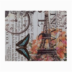 Vintage Clock Blue Butterfly Paris Eiffel Tower Fashion Glasses Cloth (Small, Two Sided)