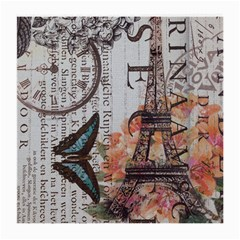 Vintage Clock Blue Butterfly Paris Eiffel Tower Fashion Glasses Cloth (Medium, Two Sided)