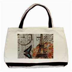 Vintage Clock Blue Butterfly Paris Eiffel Tower Fashion Twin-sided Black Tote Bag