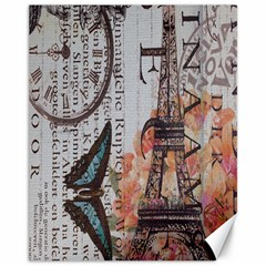 Vintage Clock Blue Butterfly Paris Eiffel Tower Fashion Canvas 11  x 14  (Unframed)