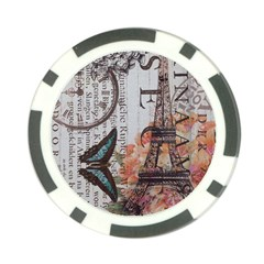 Vintage Clock Blue Butterfly Paris Eiffel Tower Fashion Poker Chip