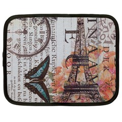 Vintage Clock Blue Butterfly Paris Eiffel Tower Fashion Netbook Case (Large)