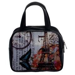 Vintage Clock Blue Butterfly Paris Eiffel Tower Fashion Classic Handbag (Two Sides)