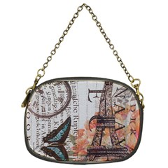 Vintage Clock Blue Butterfly Paris Eiffel Tower Fashion Chain Purse (one Side)