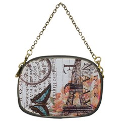 Vintage Clock Blue Butterfly Paris Eiffel Tower Fashion Chain Purse (two Sided)