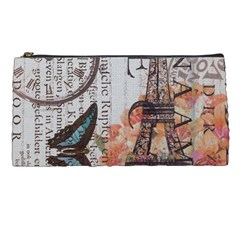 Vintage Clock Blue Butterfly Paris Eiffel Tower Fashion Pencil Case