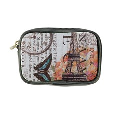 Vintage Clock Blue Butterfly Paris Eiffel Tower Fashion Coin Purse