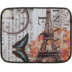 Vintage Clock Blue Butterfly Paris Eiffel Tower Fashion Mini Fleece Blanket (Two Sided)