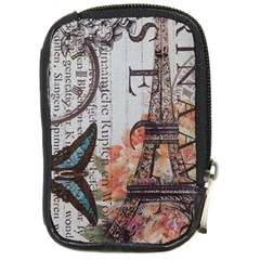 Vintage Clock Blue Butterfly Paris Eiffel Tower Fashion Compact Camera Leather Case