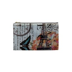 Vintage Clock Blue Butterfly Paris Eiffel Tower Fashion Cosmetic Bag (small)
