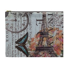 Vintage Clock Blue Butterfly Paris Eiffel Tower Fashion Cosmetic Bag (XL)