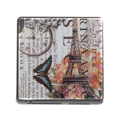 Vintage Clock Blue Butterfly Paris Eiffel Tower Fashion Memory Card Reader with Storage (Square)