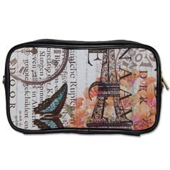 Vintage Clock Blue Butterfly Paris Eiffel Tower Fashion Travel Toiletry Bag (one Side)