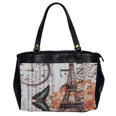 Vintage Clock Blue Butterfly Paris Eiffel Tower Fashion Oversize Office Handbag (Two Sides)