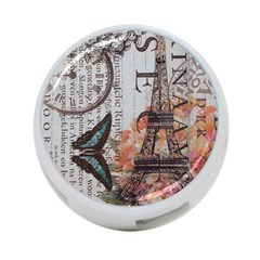 Vintage Clock Blue Butterfly Paris Eiffel Tower Fashion 4-Port USB Hub (One Side)
