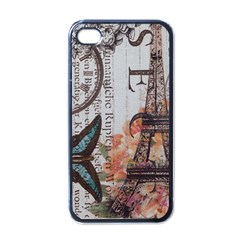 Vintage Clock Blue Butterfly Paris Eiffel Tower Fashion Apple Iphone 4 Case (black)