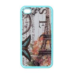 Vintage Clock Blue Butterfly Paris Eiffel Tower Fashion Apple Iphone 4 Case (color)