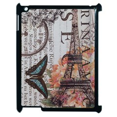 Vintage Clock Blue Butterfly Paris Eiffel Tower Fashion Apple Ipad 2 Case (black)