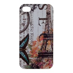 Vintage Clock Blue Butterfly Paris Eiffel Tower Fashion Apple Iphone 4/4s Hardshell Case