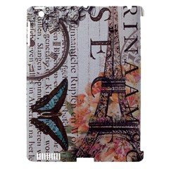 Vintage Clock Blue Butterfly Paris Eiffel Tower Fashion Apple Ipad 3/4 Hardshell Case (compatible With Smart Cover)