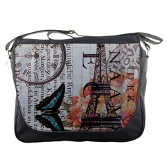 Vintage Clock Blue Butterfly Paris Eiffel Tower Fashion Messenger Bag
