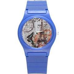 Vintage Clock Blue Butterfly Paris Eiffel Tower Fashion Plastic Sport Watch (Small)