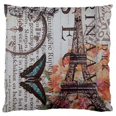 Vintage Clock Blue Butterfly Paris Eiffel Tower Fashion Large Cushion Case (two Sided)