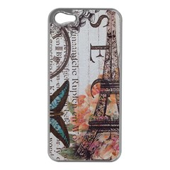 Vintage Clock Blue Butterfly Paris Eiffel Tower Fashion Apple Iphone 5 Case (silver)