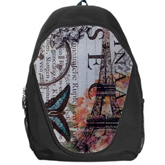 Vintage Clock Blue Butterfly Paris Eiffel Tower Fashion Backpack Bag