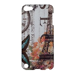 Vintage Clock Blue Butterfly Paris Eiffel Tower Fashion Apple iPod Touch 5 Hardshell Case
