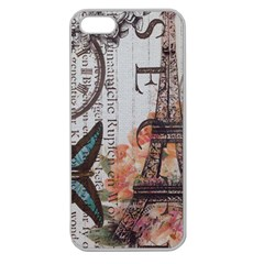 Vintage Clock Blue Butterfly Paris Eiffel Tower Fashion Apple Seamless iPhone 5 Case (Clear)