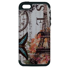 Vintage Clock Blue Butterfly Paris Eiffel Tower Fashion Apple Iphone 5 Hardshell Case (pc+silicone)