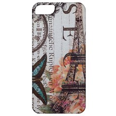 Vintage Clock Blue Butterfly Paris Eiffel Tower Fashion Apple iPhone 5 Classic Hardshell Case