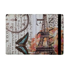 Vintage Clock Blue Butterfly Paris Eiffel Tower Fashion Apple iPad Mini Flip Case
