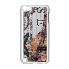 Vintage Clock Blue Butterfly Paris Eiffel Tower Fashion Apple Ipod Touch 5 Case (white)