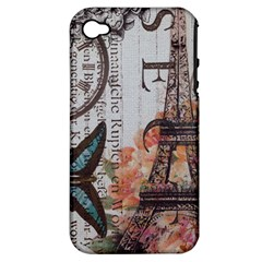 Vintage Clock Blue Butterfly Paris Eiffel Tower Fashion Apple iPhone 4/4S Hardshell Case (PC+Silicone)