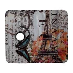 Vintage Clock Blue Butterfly Paris Eiffel Tower Fashion Samsung Galaxy S  III Flip 360 Case