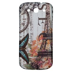 Vintage Clock Blue Butterfly Paris Eiffel Tower Fashion Samsung Galaxy S3 S III Classic Hardshell Back Case