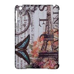 Vintage Clock Blue Butterfly Paris Eiffel Tower Fashion Apple iPad Mini Hardshell Case (Compatible with Smart Cover)