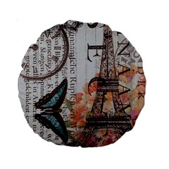 Vintage Clock Blue Butterfly Paris Eiffel Tower Fashion 15  Premium Round Cushion