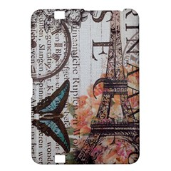 Vintage Clock Blue Butterfly Paris Eiffel Tower Fashion Kindle Fire HD 8.9  Hardshell Case