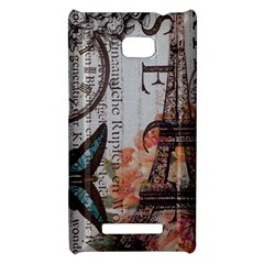 Vintage Clock Blue Butterfly Paris Eiffel Tower Fashion HTC 8X Hardshell Case